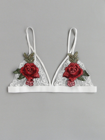 Flower Applique Lace Bralette