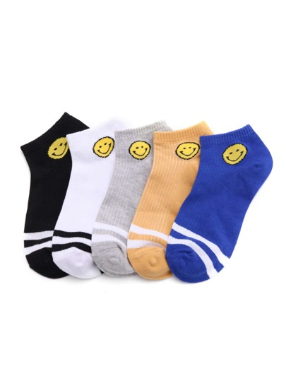 Emoji Print Invisible Socks 5pairs