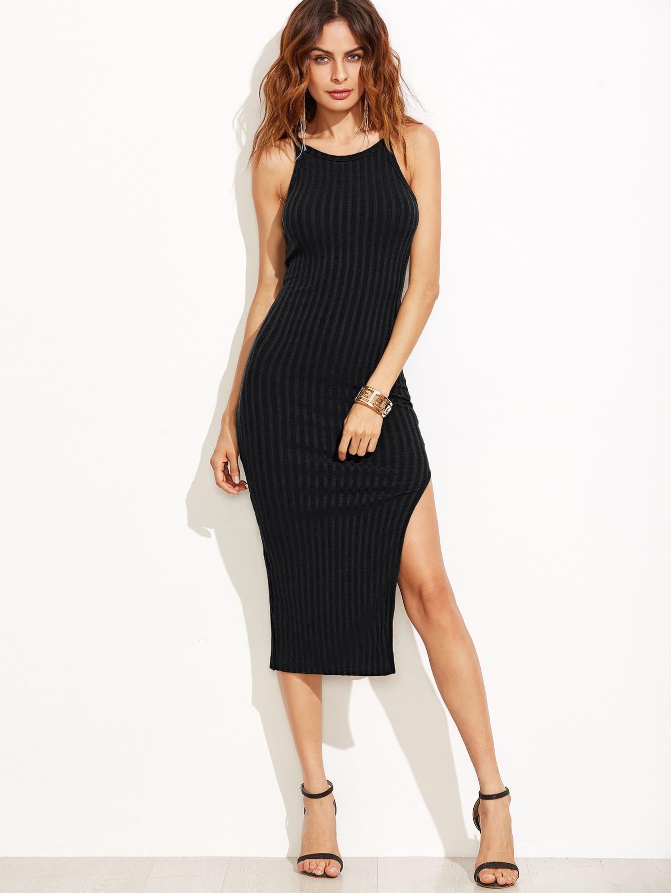 Side Slit Ribbed Cami Dress