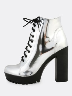 Metallic Lace Up Heel Boots SILVER