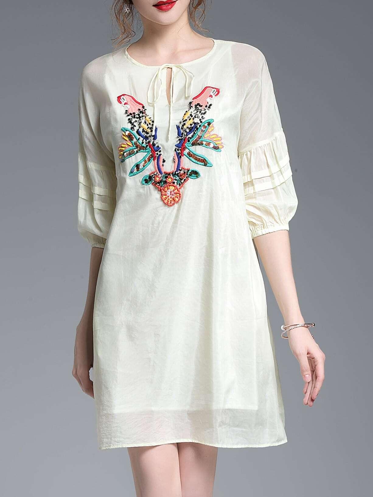 Фото Tie Neck Hollow Birds Embroidered Dress. Купить с доставкой