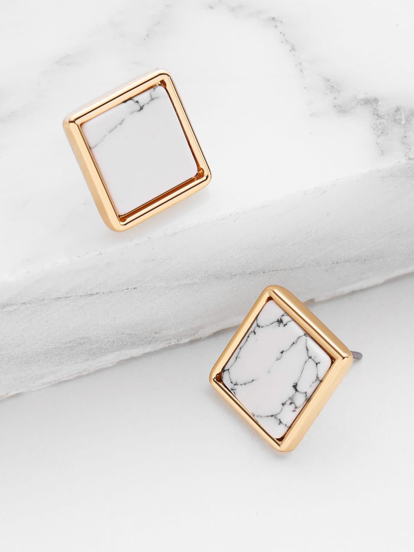 Фото Square Marble Stud Earrings. Купить с доставкой