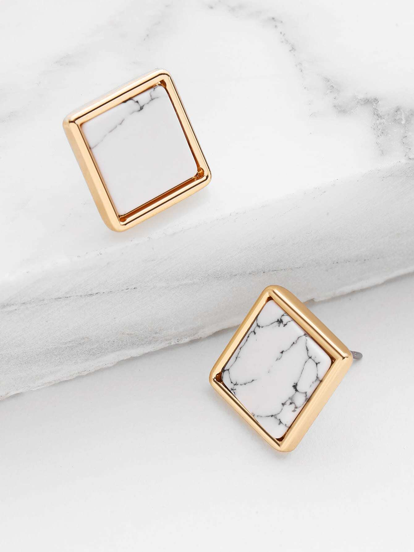 Image of Square Marble Stud Earrings