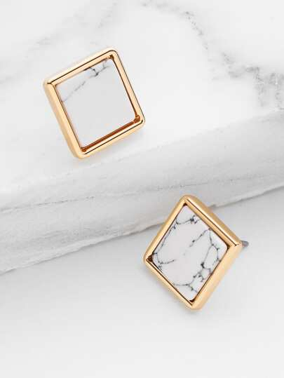 Square Marble Stud Earrings