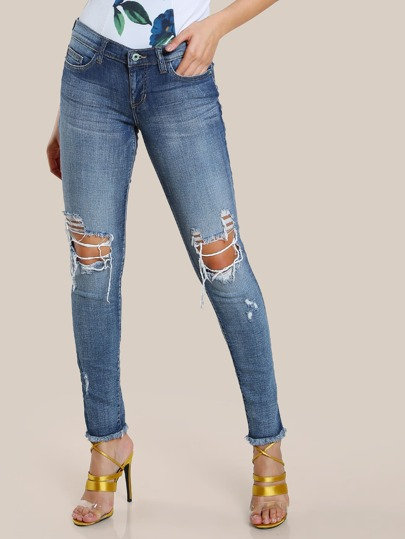 Distressed Skinny Jeans DENIM
