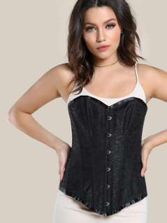 Floral Print Lace Up Bustier BLACK