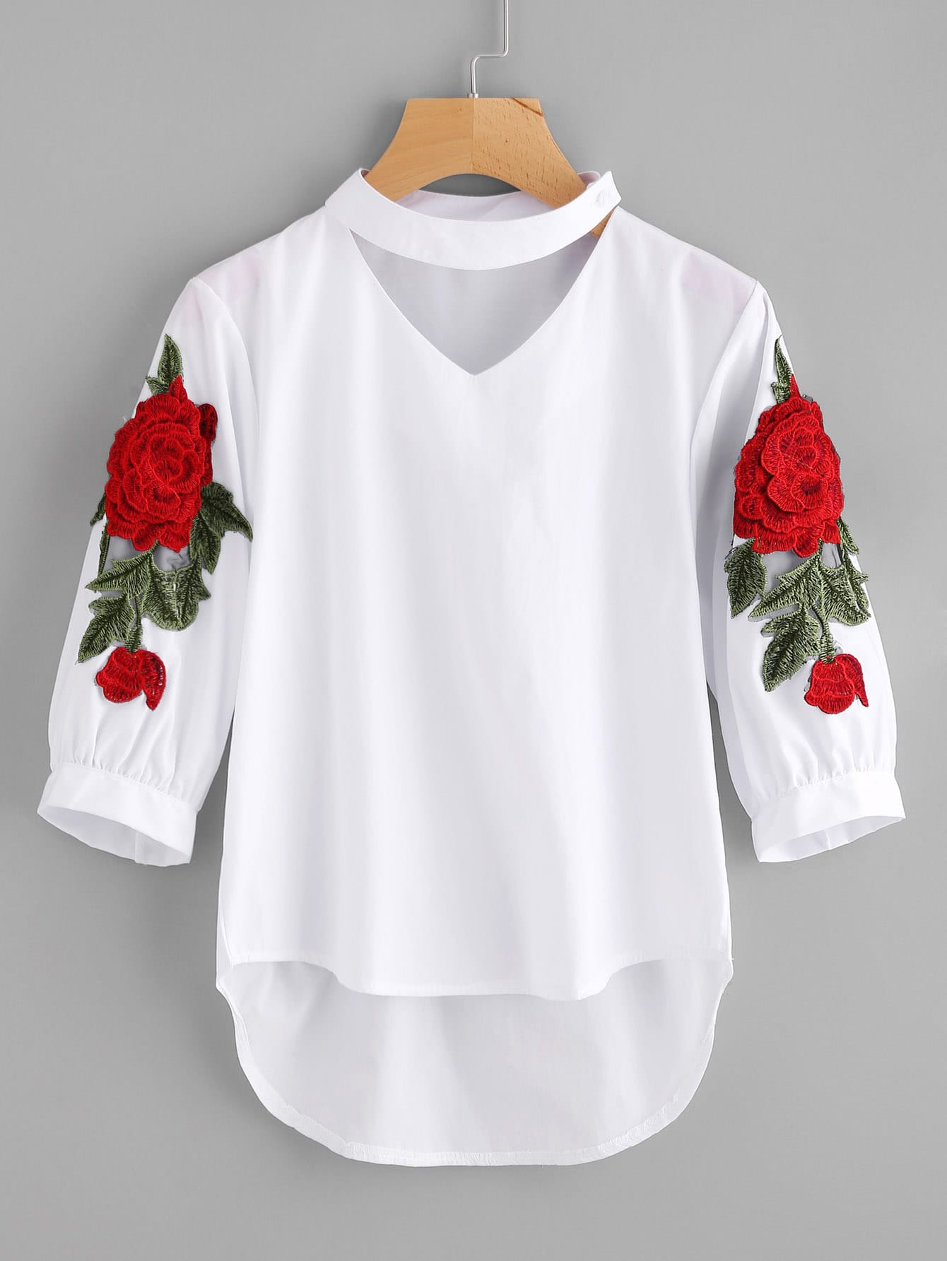Embroidered Appliques Choker Neck Dip Hem Blouse plus size cartoon embroidered arc hem blouse