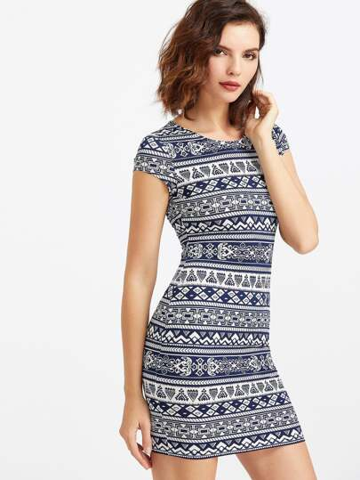 Aztec Print Form Fitting Dress