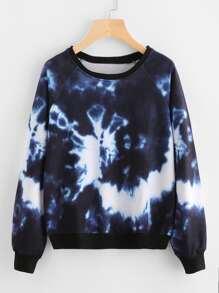 Contrast Trim Water Color Sweatshirt