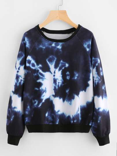 Contrast Trim Water Color Sweatshirt