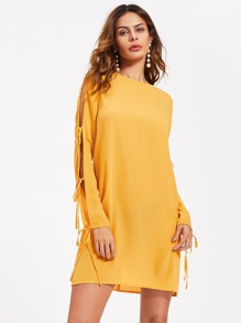 Bow Tie Split Sleeve Button Keyhole Back Dress