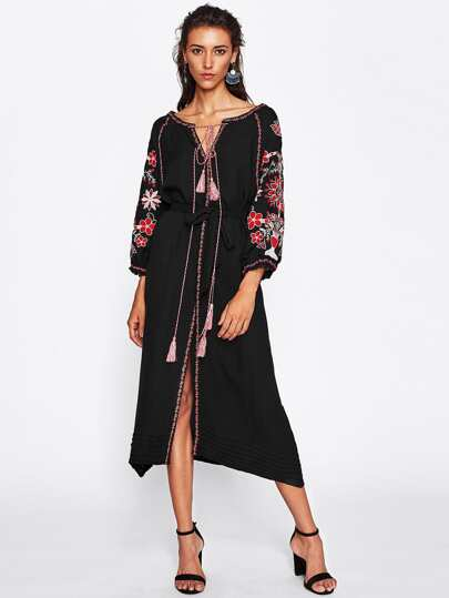 Embroidered Tape Detail V Cut Tassel Tie Slit Dress