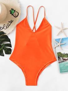 Cross Back Plunge Swimsuit