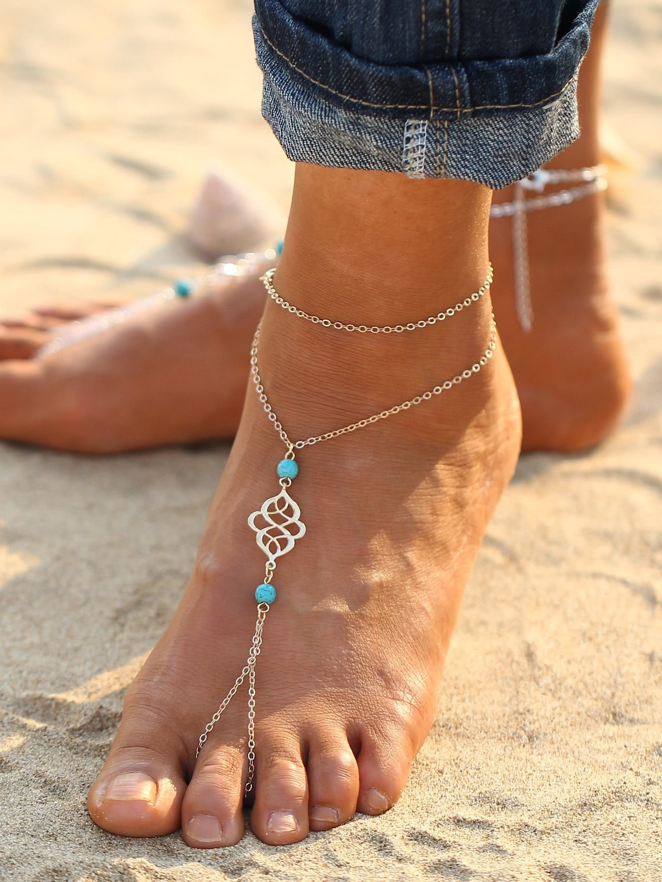 Turquoise Detail Chain Anklet With Toe Ring ring front layered chain anklet