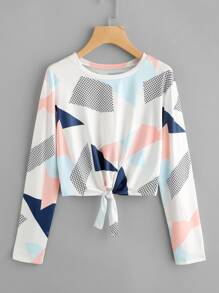 Abstract Geo Print Knotted Hem Tee