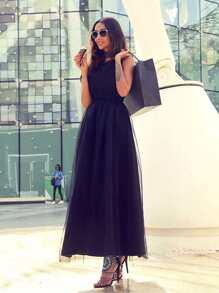 Black Mesh Overlay Scallop V Neck Embroidered Dress