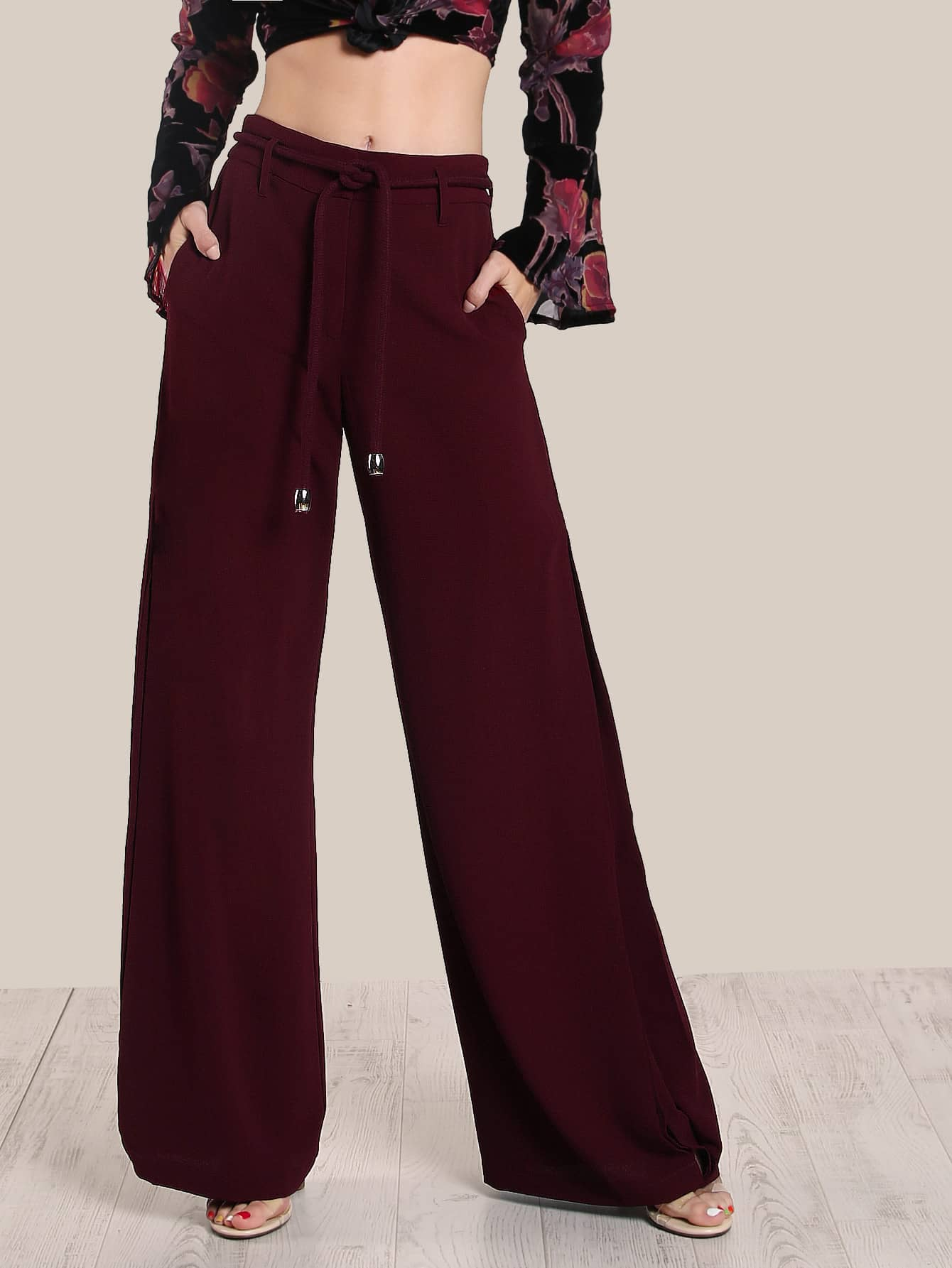 Split Hem High Rise Wide Leg Pants