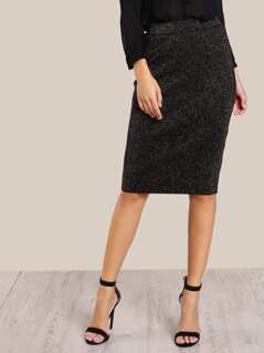 Glitter Bodycon Pencil Skirt BLACK GOLD
