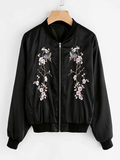 Plum Blossom Embroidered Ribbed Trim Jacket