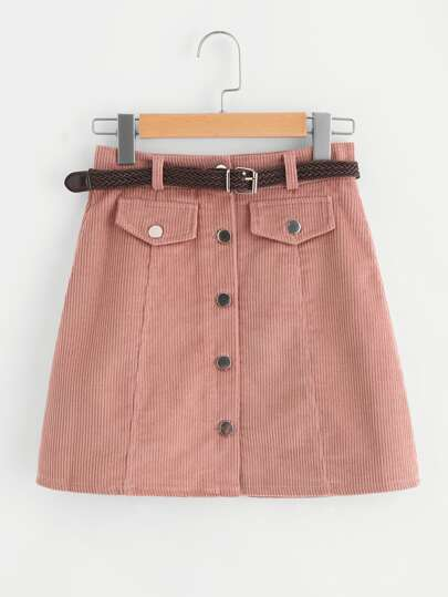 Single Breasted Ribbed Corduroy Skirt With Belt
