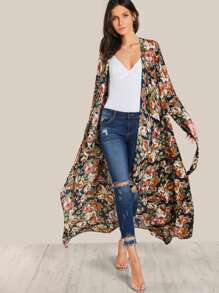 Waterfall Lapel Flap Back Duster Coat