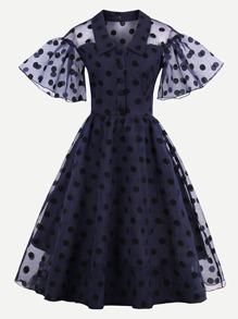Dot Mesh Overlay Fluted Sleeve Swing Dress