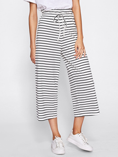 Striped Jersey Culotte Pants