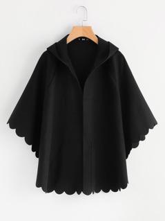 Scallop Edge Hoodie Batwing Coat