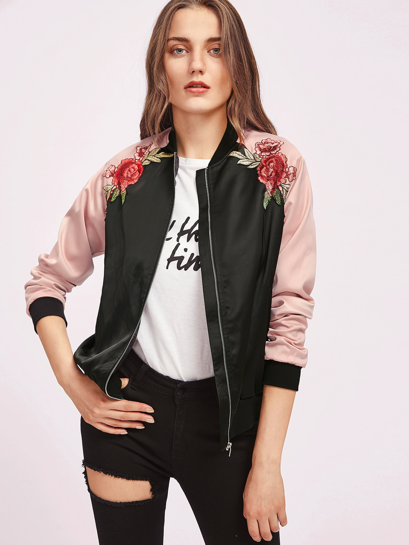Symmetric Embroidery Patch Contrast Raglan Sleeve Bomber Jacket two tone patch back letter ribbon detail bomber jacket