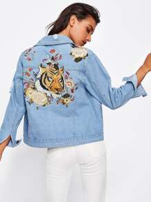 Tiger Embroidered Back Denim Jacket