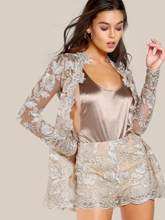 Floral Stitched Sheer Jacket BEIGE