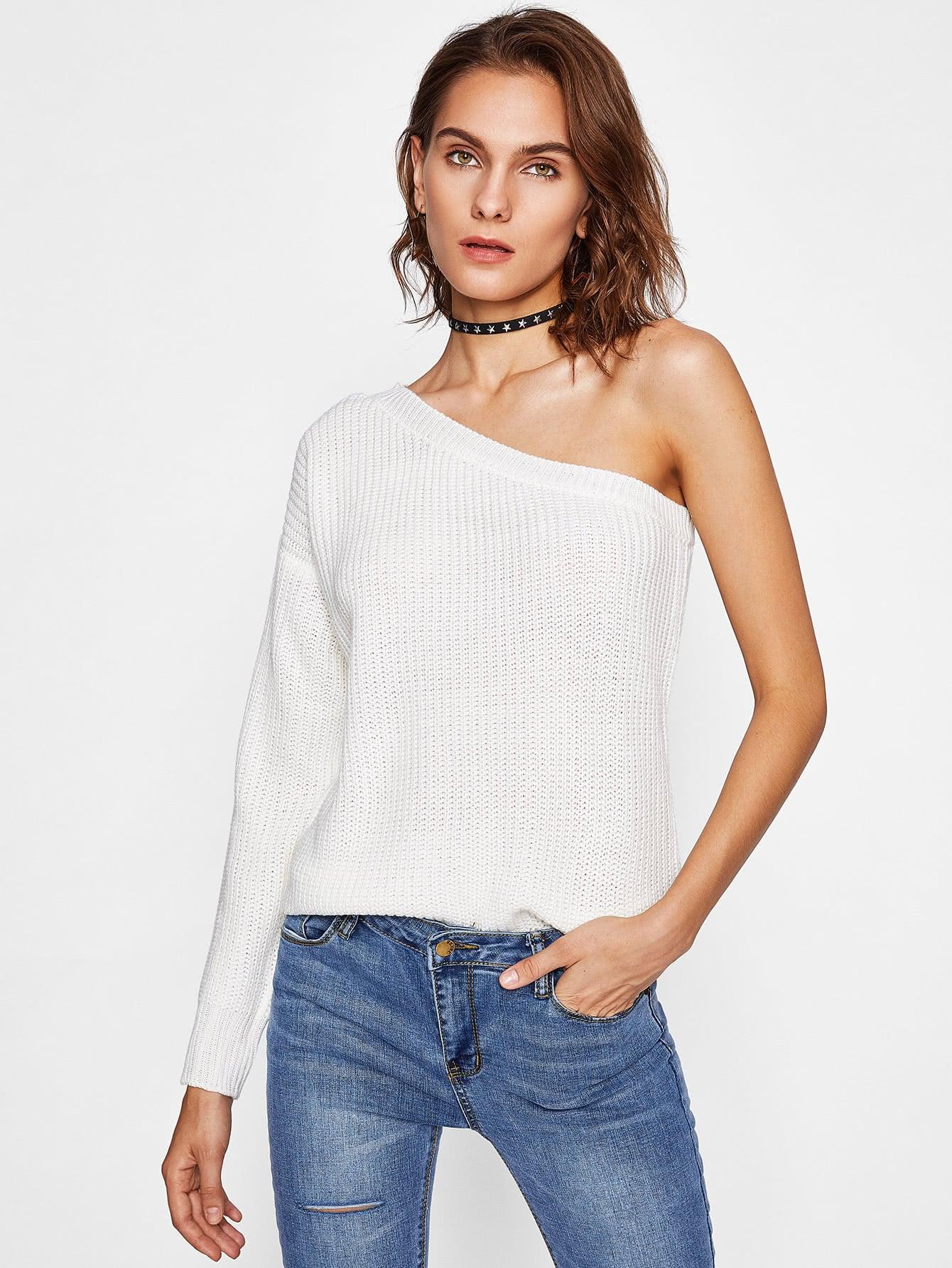one shoulder pullover sweater shein sheinside. Black Bedroom Furniture Sets. Home Design Ideas
