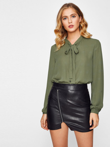 Bow Tie Neck Button Up Blouse