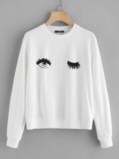 Wink Eye Print Sweatshirt