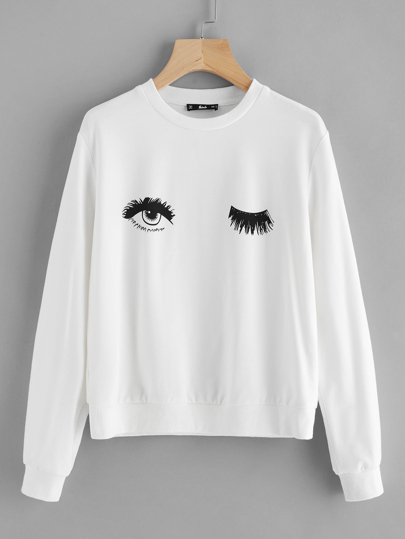 Wink Eye Print Sweatshirt