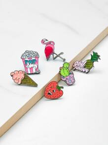 Ice Cream & Strawberry Design Brooch Set
