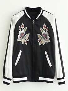 Contrast Raglan Sleeve Flower Embroidery Flight Jacket