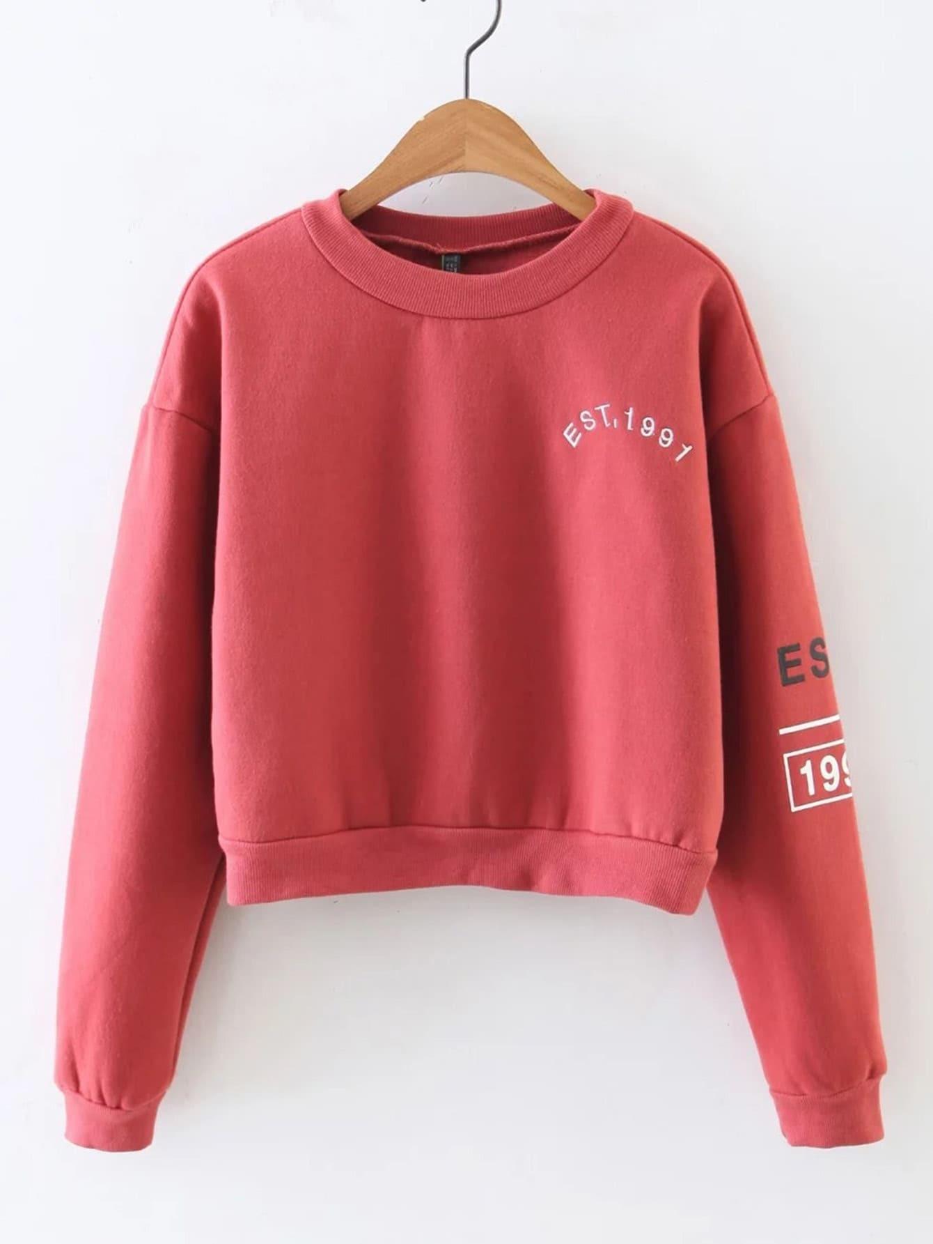 Letter Embroidery Drop Shoulder Crop Sweatshirt