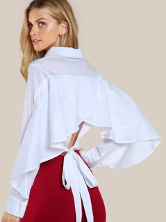 Flare Sleeve Back Tie Button Up Top WHITE