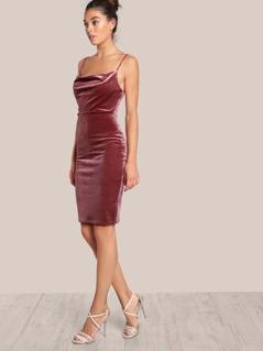Velvet Spaghetti Strap Dress MAUVE
