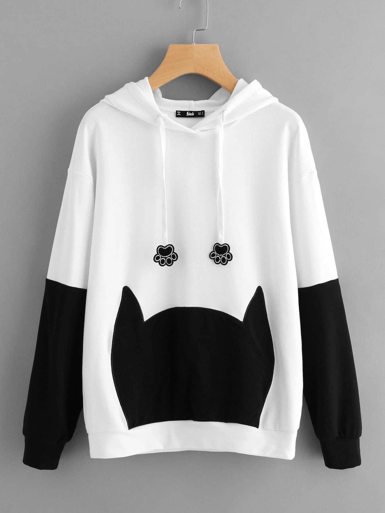 Bow Back Two Tone Cat Ear Hoodie two tone heart