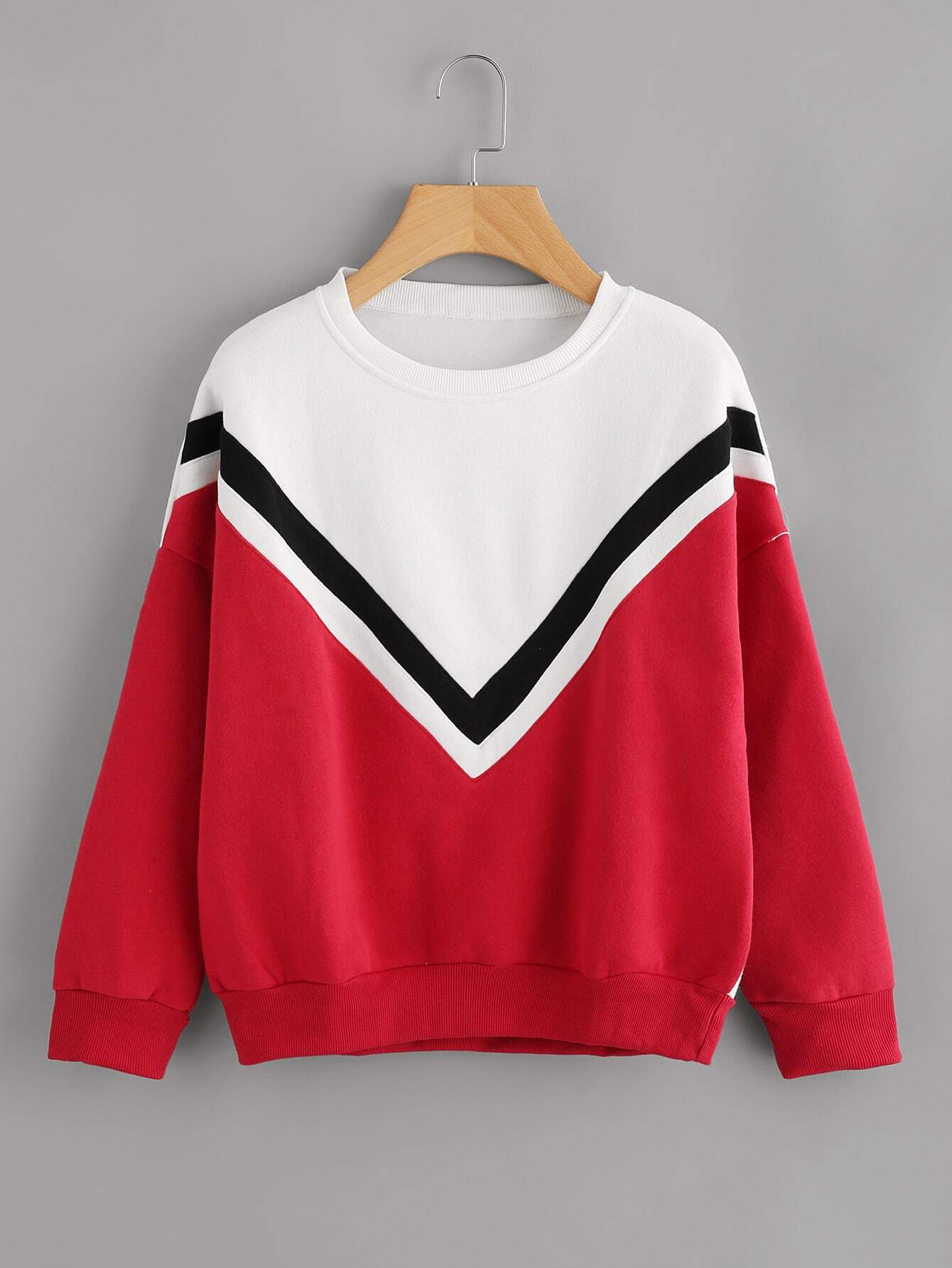 Drop Shoulder Striped Trim Sweatshirt drop shoulder grommet tie detail sweatshirt