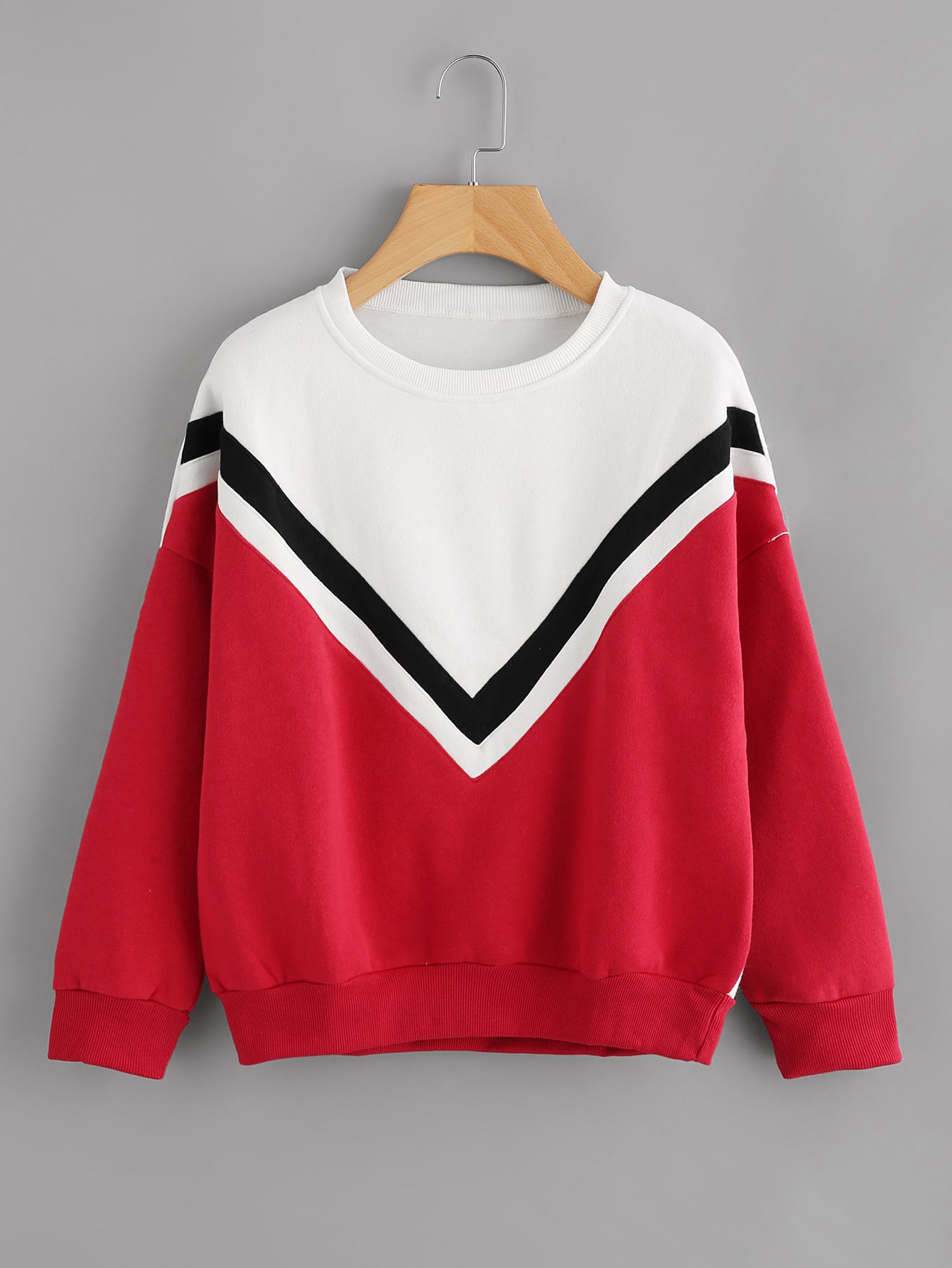 Drop Shoulder Striped Trim Sweatshirt drop shoulder frill hem batwing sweatshirt