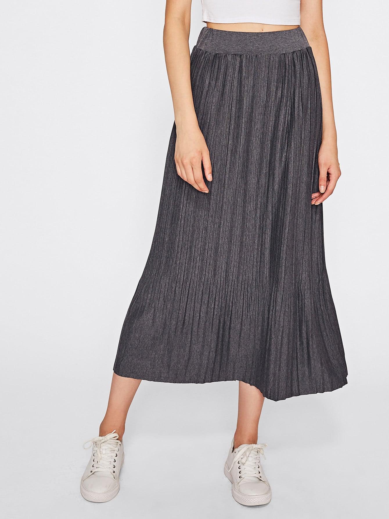 Elastic Waist Full Length Pleated Skirt mesh pleated elastic waist skirt