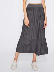 Elastic Waist Full Length Pleated Skirt