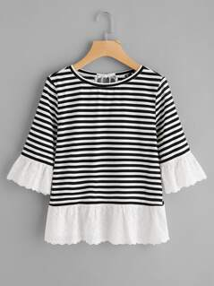 Eyelet Embroidered Trim Bow Back Stripe Tee