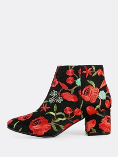 Rose Embroidered Zip Up Booties BLACK RED