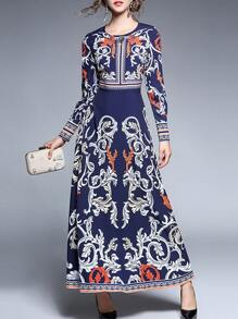 Vintage Print A-Line Dress