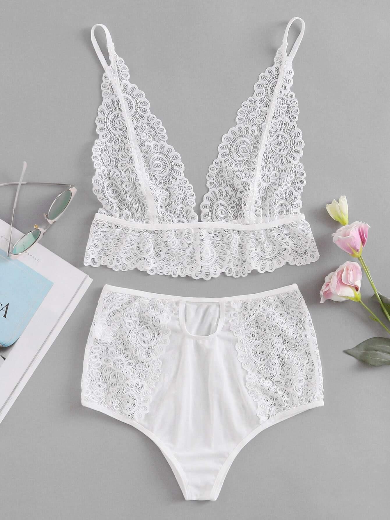 Hollow Out Lace Lingerie Set lingerie170810330