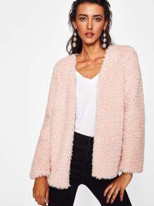 Faux Fur Open Front Coat